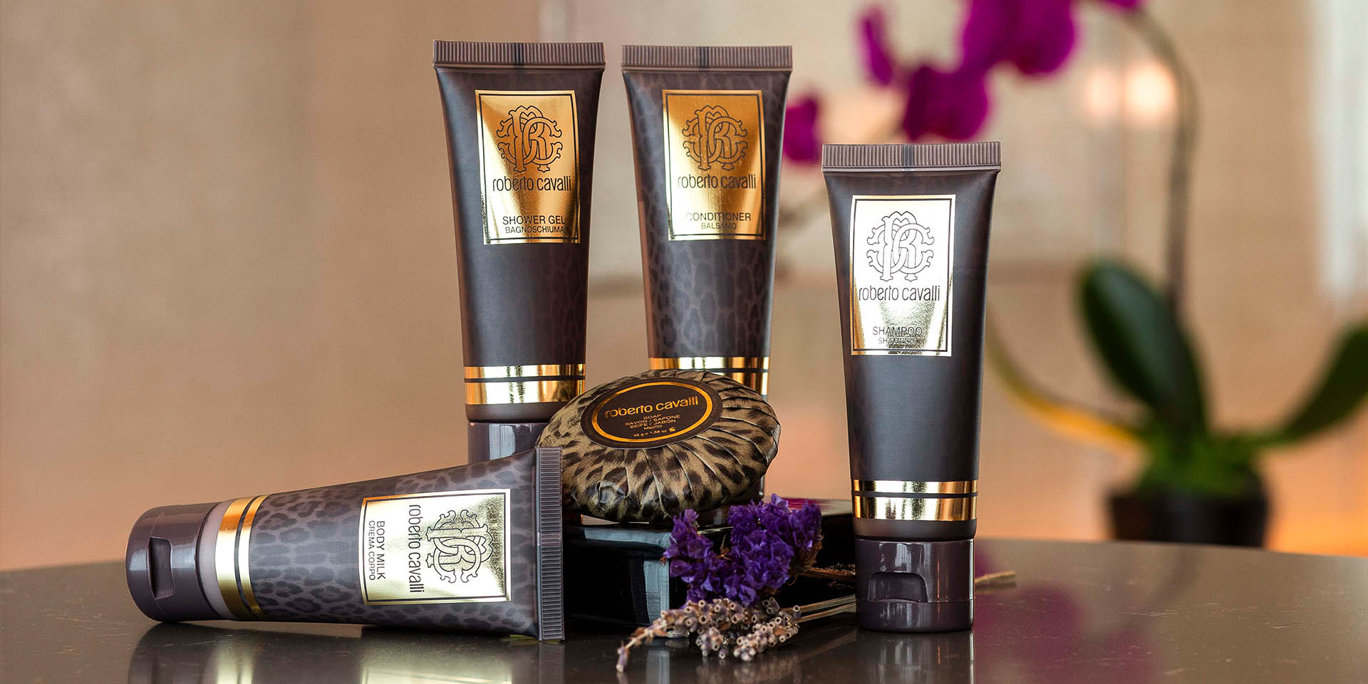 Luxury bathroom amenities from Roberto Cavalli
