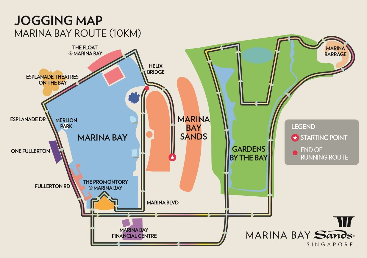 jogging map aroung Marinate Bay Sands