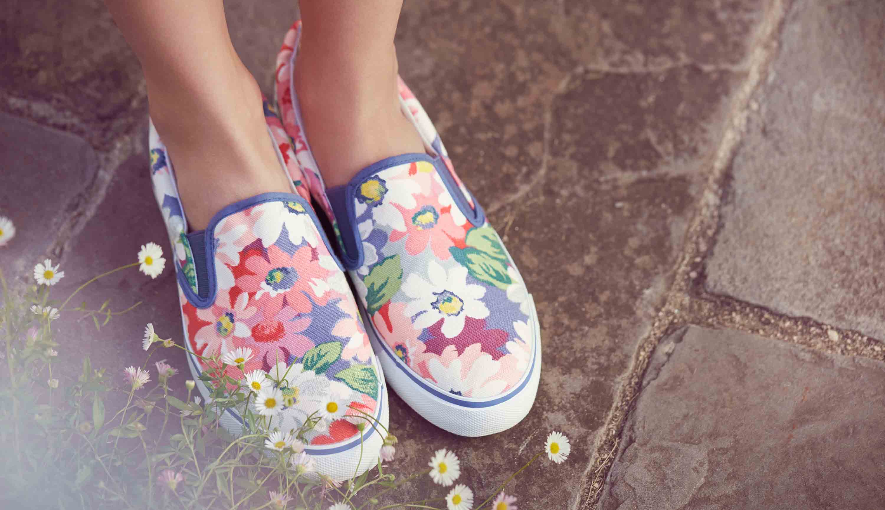 Cath Kidston - Painted Daisy Slip On Trainers
